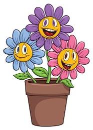 bunga kartun berwarna