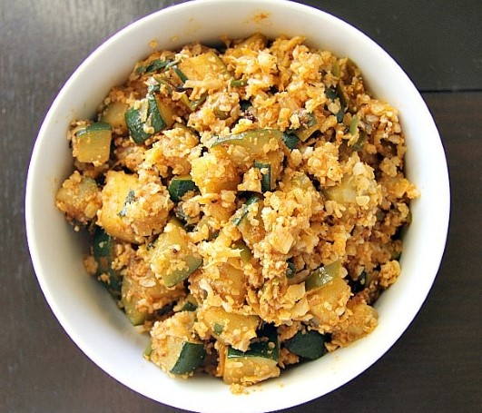 Spicy Zucchini Cauliflower Rice