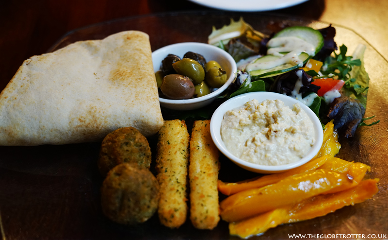 Vegetarian mezze platter at the Old Vine in Winchester