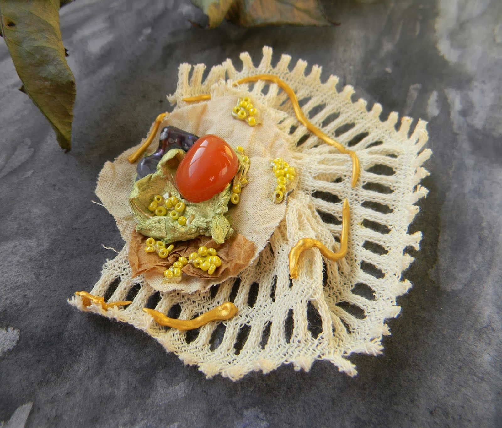 Cotton Knit Brooch Organic Eco Chic Jewelry with Grey Freshwater Pearl and Agate Bead