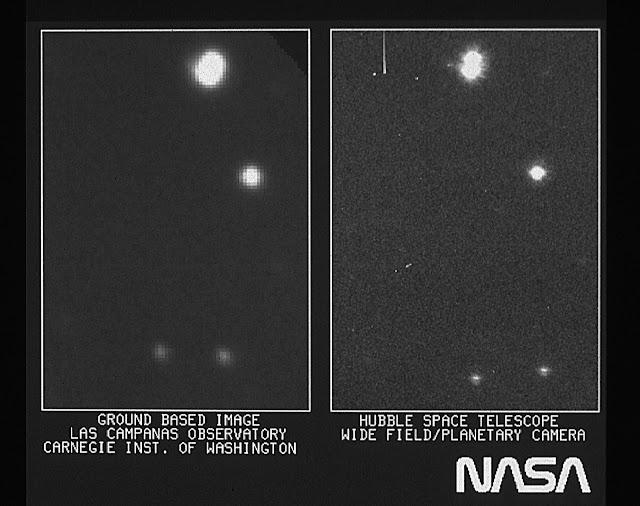 Hình ảnh bên phải là hình được chụp bởi Kính Viễn vọng Không gian Hubble qua Wide Field/Planetary Camera. Hình ảnh bên trái được chụp bởi kính thiên văn Las Campanas trên mặt đất ở Chile. Cả hai đều chụp ở cùng một vùng trời. Bản quyền hình : Hubble Image: NASA, ESA, and STScI (phải), E. Persson (Las Campanas Observatory, Chile)/Observatories of the Carnegie Institution of Washington (trái).