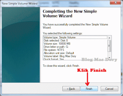 Completing the New Simple Volume Wizard Klik Finish Blog Mas Dory