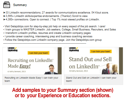 add samples to your LinkedIn profile