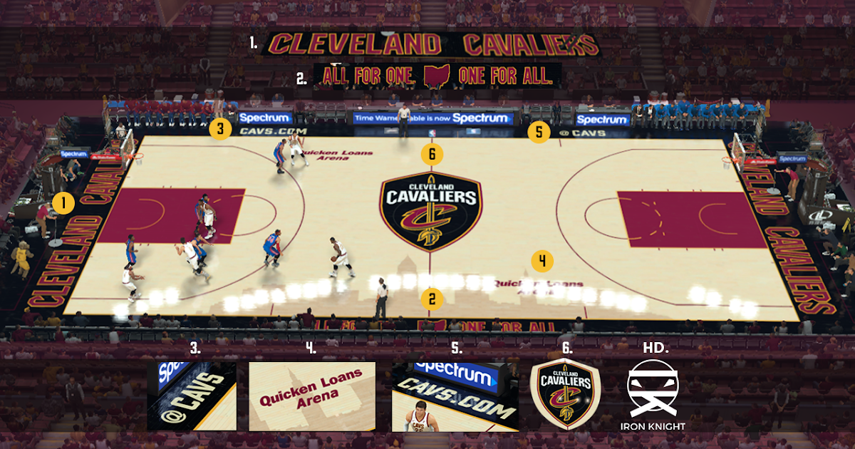 2K Mods by Iron Knight: Quicken Loans Arena (Cleveland Cavaliers) 2017-2018 Official Court for ...