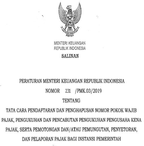 PMK RI Nomor 231/PMK.03 Tahun 2019
