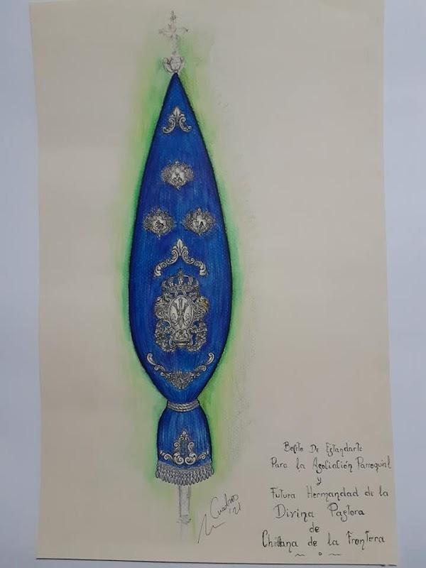 Así es el boceto del estandarte de la Agrupación Parroquial de la Divina Pastora de Chiclana