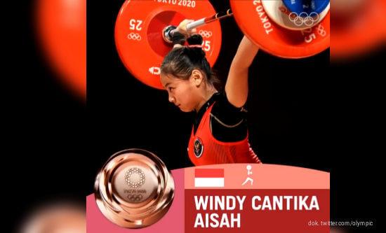 Olimpiade Tokyo 2020, Windy Cantika Aisah, Medali, Perunggu, Angkat Besi