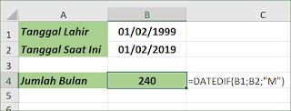 Fungsi Excel DATEDIF