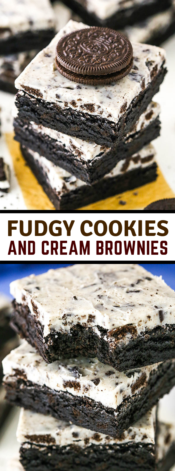 FUDGY COOKIES AND CREAM BROWNIES #desserts #cake #sweets #brownies #oreo