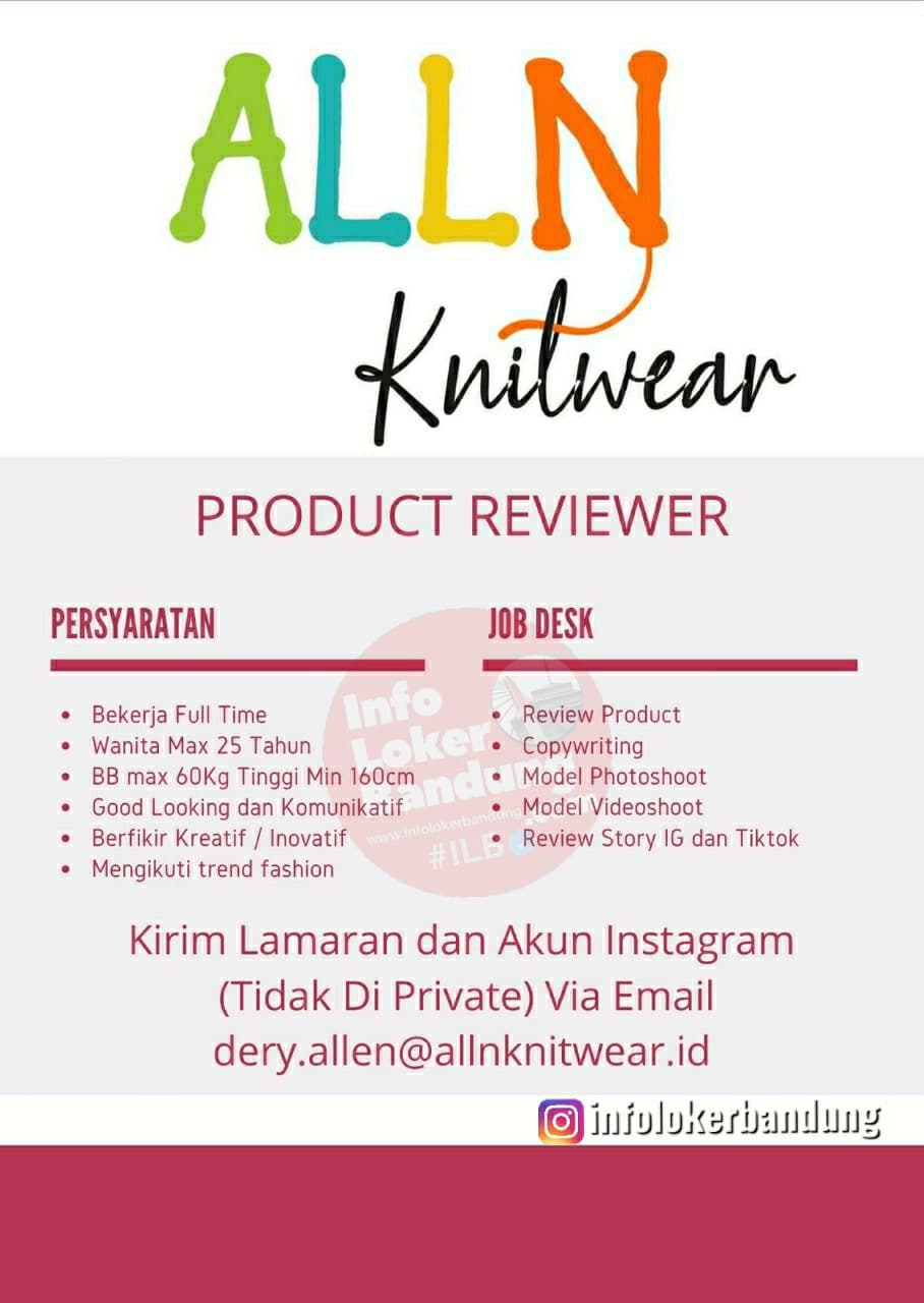 Lowongan Kerja Product Reviwer Alln Knitwear Bandung April 2021