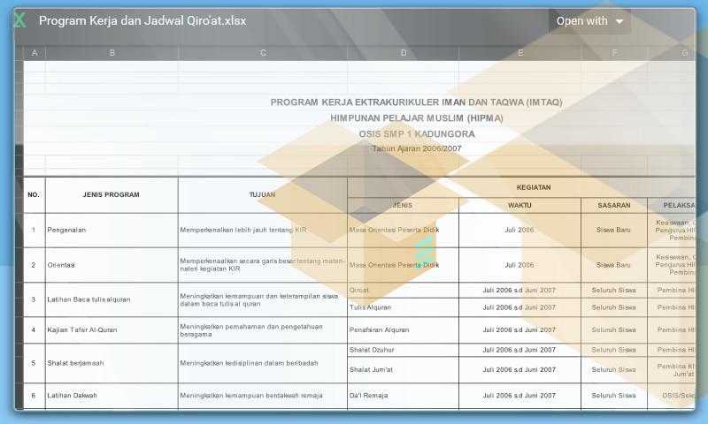 Contoh Program Kerja Ekstrakulikuler dan Jadwal Qiro'at Format Excel