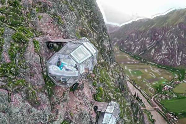 If you ever desired to sleep in a nest of condor, then the pods of polycarbonate and aluminum that hang on a mountain's top are entirely unusual. The Skylodge Adventure Suites offer you the sensation of hanging around in a spaceship and not a hotel, together with the stars blinking over your head at night.