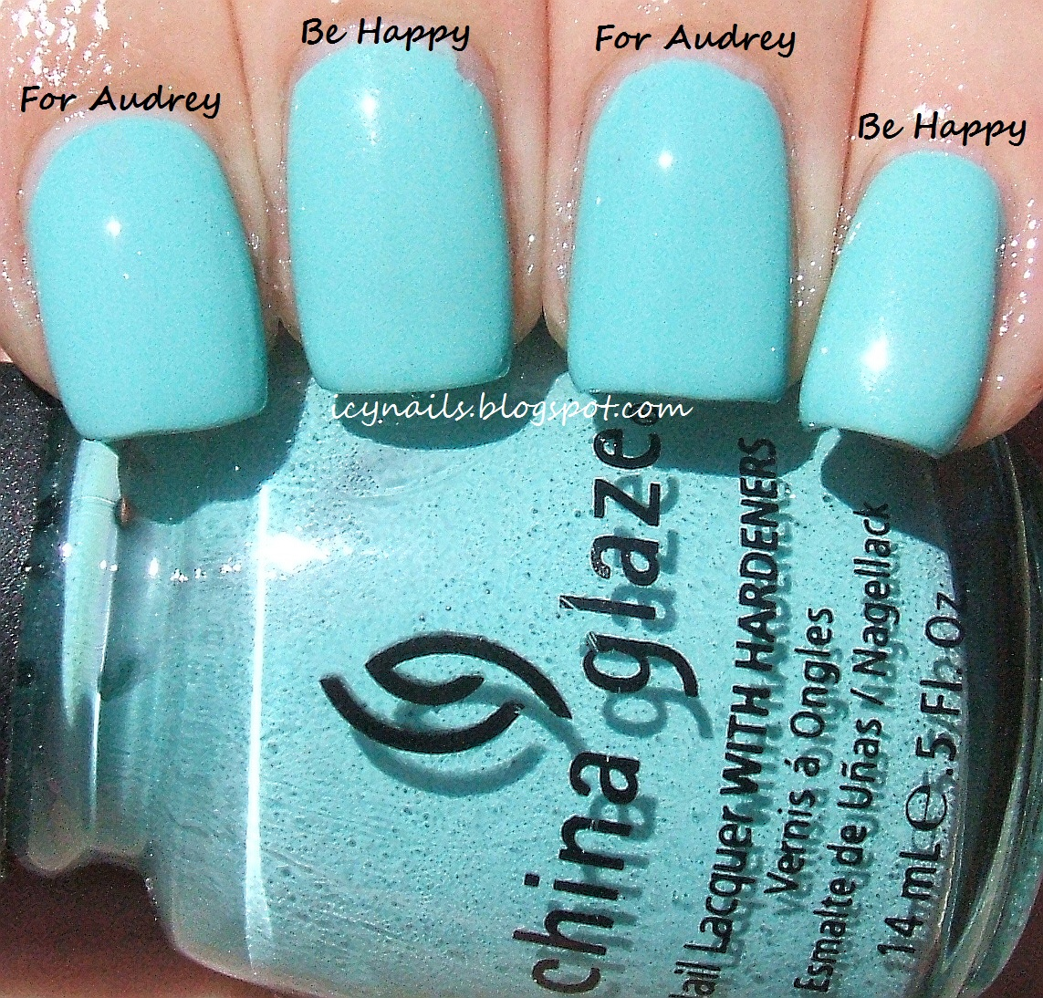 165c5e7df3d ... Happy to my middle and pinkie finger nails. Two coats with Seche Vite.  I photographed the comparison with both the China Glaze and Sinful Colors  bottles ...