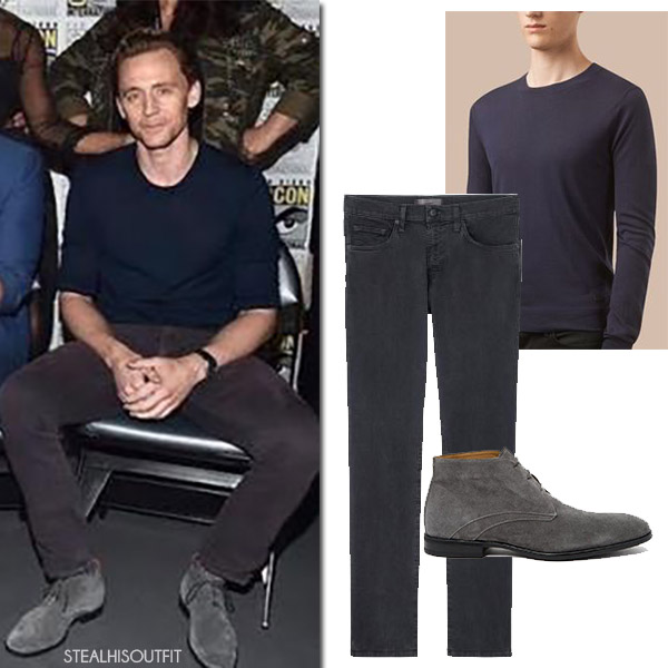 Tom Hiddleston in navy burberry sweater and grey jeans j brand comic con 2017 mens fashion
