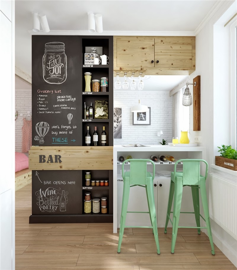 Mieszkanie w skandynawskim stylu z pastelowymi dodatkami, wystrój wnętrz, wnętrza, urządzanie domu, dekoracje wnętrz, aranżacja wnętrz, inspiracje wnętrz,interior design , dom i wnętrze, aranżacja mieszkania, modne wnętrza, styl skandynawski, scandinavian style, pastelowe kolory, małe wnętrza, kawalerka, kuchnia, barek, stołki barowe