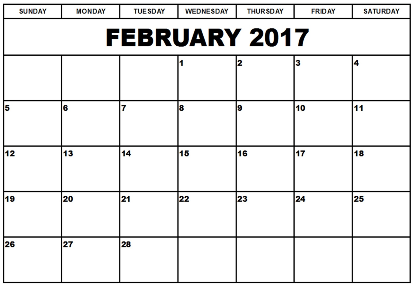 February 2017 Monthly Calendar Printable Templates - Printable ...