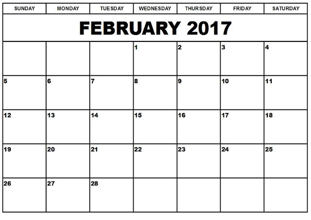 February 2017 Calendar, February 2017 Printable Calendar, February 2017 Calendar Printable, February 2017 Calendar Template, February 2017 Blank Calendar