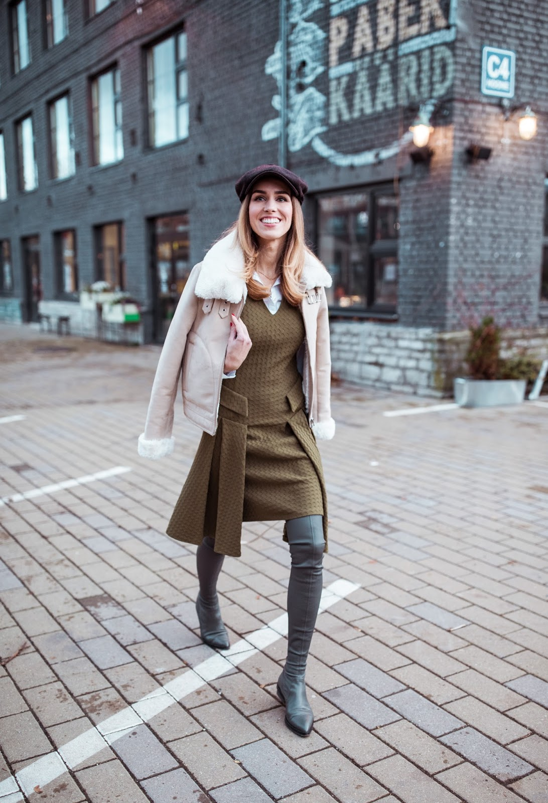 green dress over knee boots fall outfit