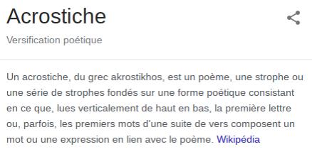 Définition Wikipédia du mot acrostiche