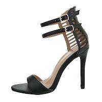 Sandale trendy, negre, cu decupaje