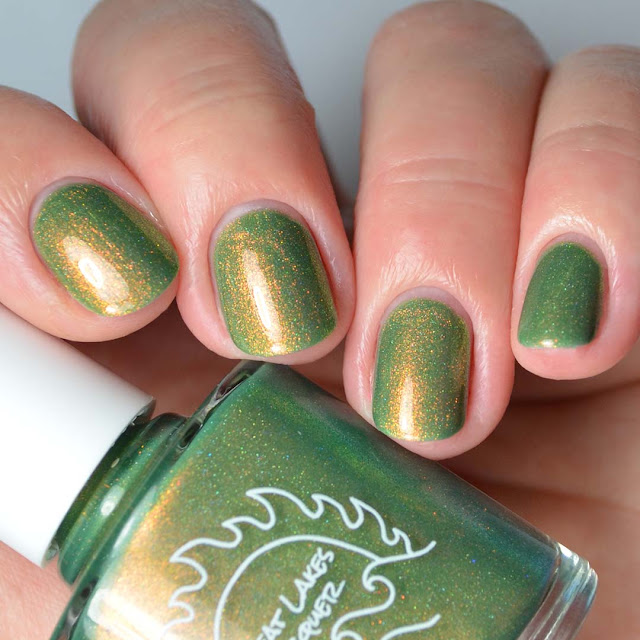 green shimmer nail polish swatch