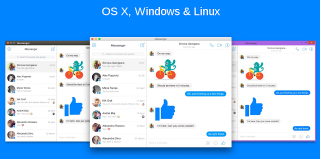 Janelas do programa Messenger for Desktop.