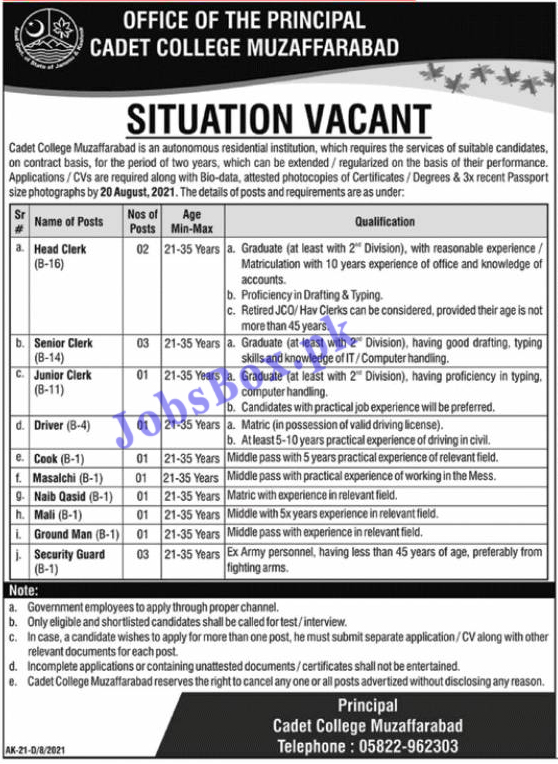 Cadet College Muzaffarabad Jobs 2021 – BPS-01 to BPS-16 Recruitment
