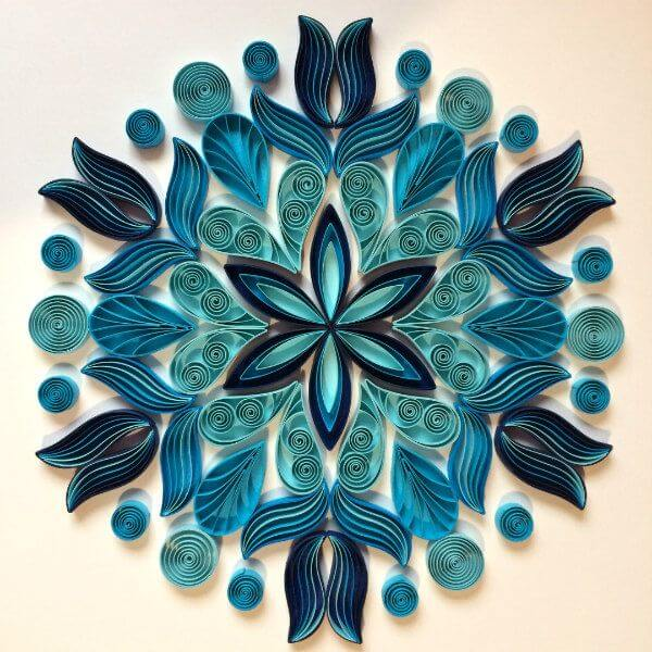 shades of blue quilled mandala