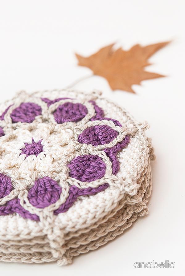 Winter Flowers crochet coasters, motif # 1 / 2017 Anabelia Craft Design