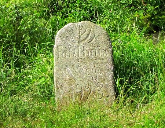 Kamień przy szlaku z wyrytymi napisami i symbolami.