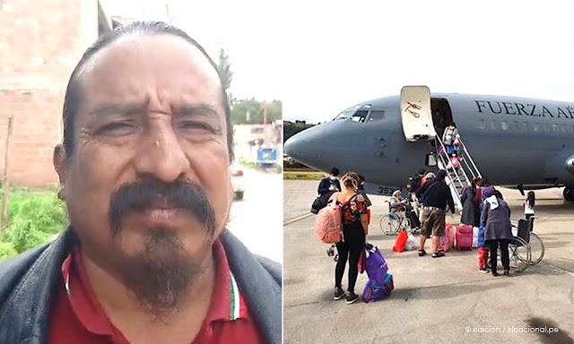 Juan de Dios Huaman Champi, congresista del Frepap uso vuelo humanitario a Cusco