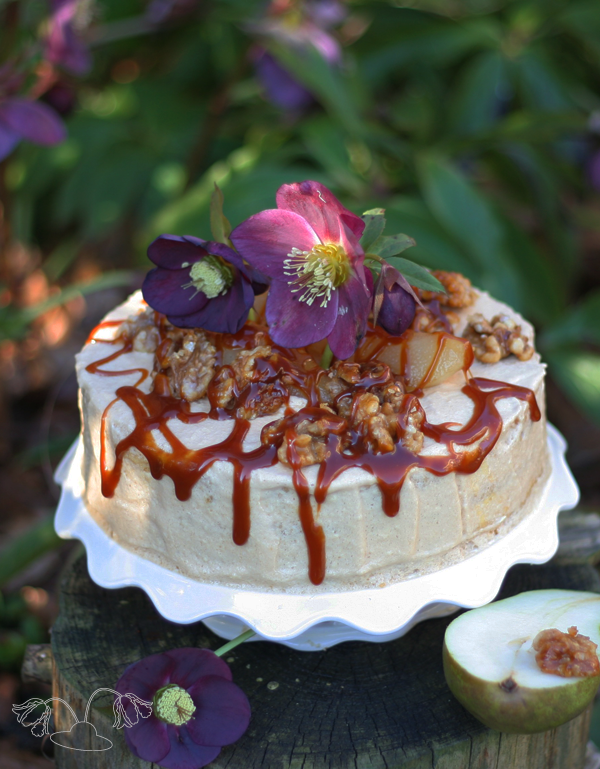 pear walnut cake caramel recipe