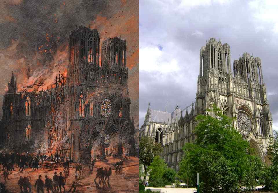Outras catedrais passaram por análogas provações e hoje brilham restauradas à l'identique. Antes e depois: Reims na I Guerra Mundial (Gustave Fraipont 1849 - 1923) e hoje