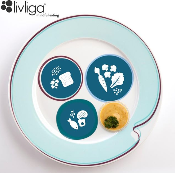 Icons with each food group on Livliga Halsa Dinner Plate