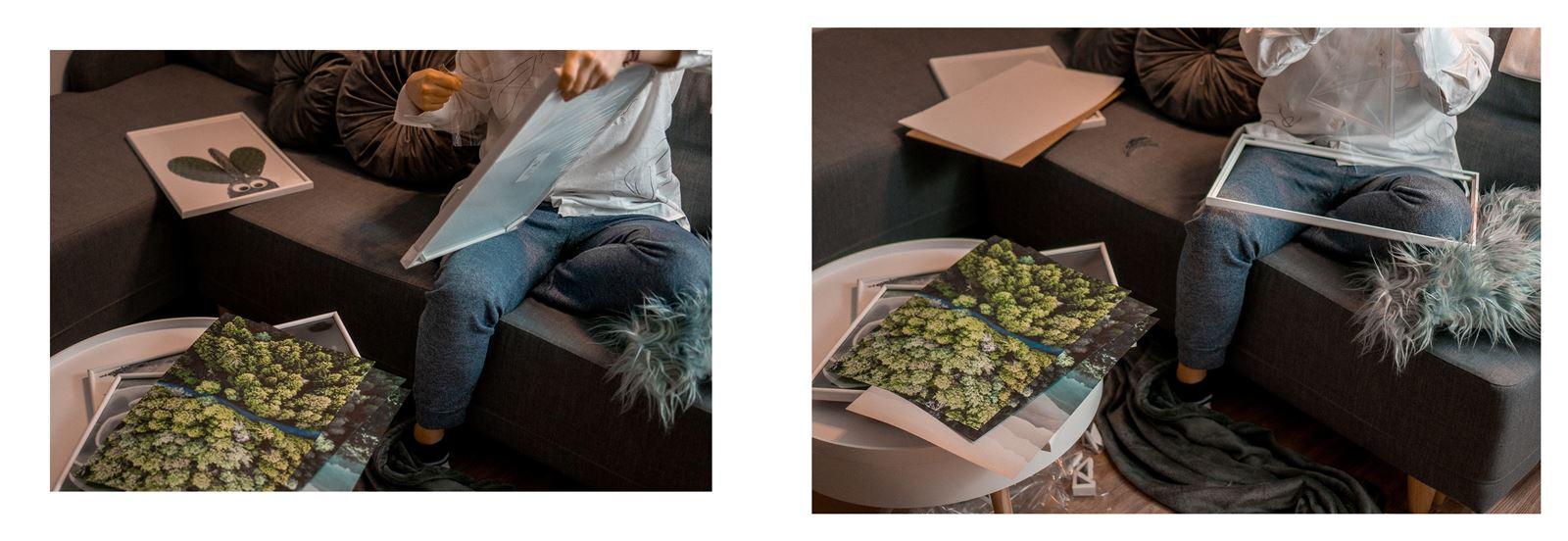 9a jak urządzić biuro w domu - dekoracje do biura, zielona ściana w mieszkaniu, jak zaprojektować galerię plakatów, plakaty krajobrazy rośliny na ścianę jak zawiesić obraz na ścianie białe ramki