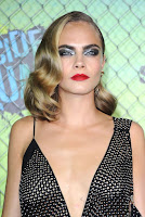 Cara Delevingne in semi-sheer dress at the Suicide Squad Premiere red carpet in New York