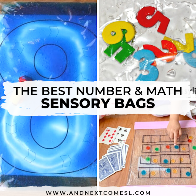 Looking for sensory bags for toddlers? Try these math themed sensory bags with numbers