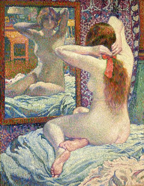 Théo van Rysselberghe - il nastro rosso - nudo pittorico femminile