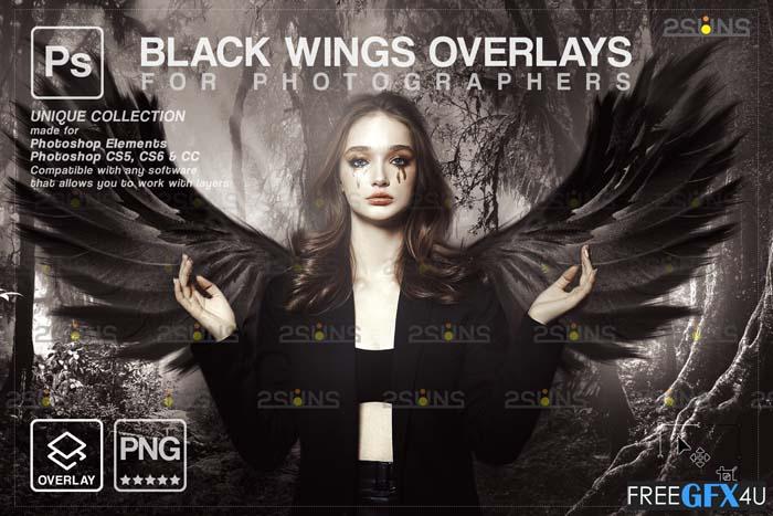Black Angel Wings PNG Overlay