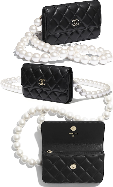 Chanel black clutch with pearl chain bag #brilliantluxury