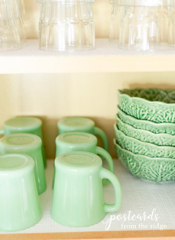 glassware and vintage jadeite mugs on Duck Brand Smooth Top EasyLiner