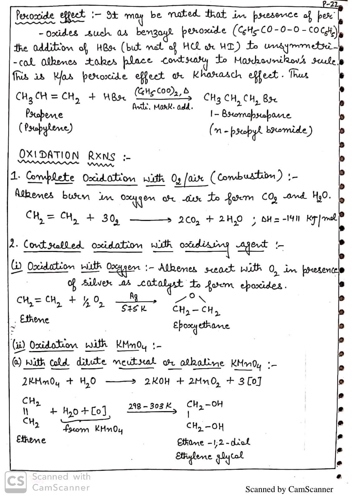 Hydrocarbon Handwritten Notes For 11th Chemistry