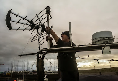 Photo of Phil rebuilding our TV aerial