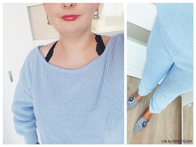 Blue Off The Shoulder Knitted Loungewear Set - Alisa