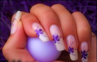 stickers ongles, déco fleurs