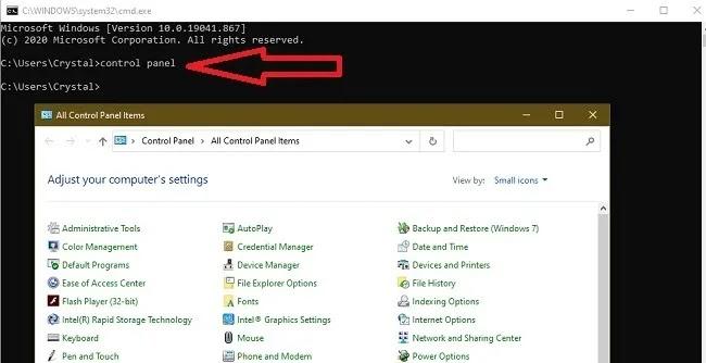 طرق فتح لوحة التحكم في Windows 10 Cmd