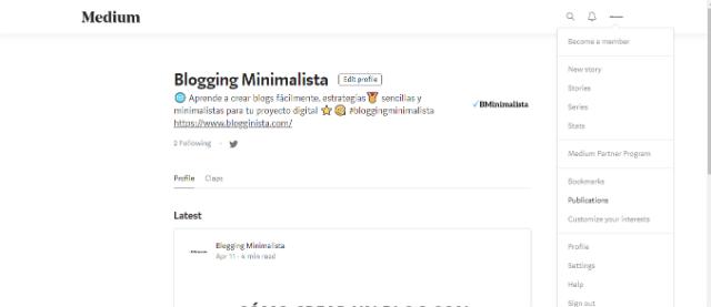 Crear publicación de Medium