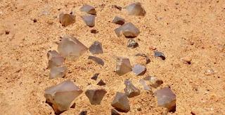 afloramentos de quartzo prasiotrino na superfície