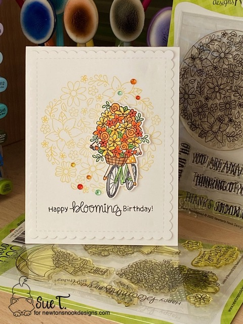 Happy Blooming Birthday by Sue T. features Floral Roundabout, Loads of Blooms, and Frames & Flags by Newton's Nook Designs; #newtonsnook, #inkypaws, #cardmaking, #birthdaycard