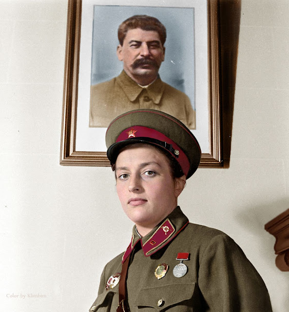 Lyudmila Pavlichenko Color photo World war II worldwartwo.filminspector.com